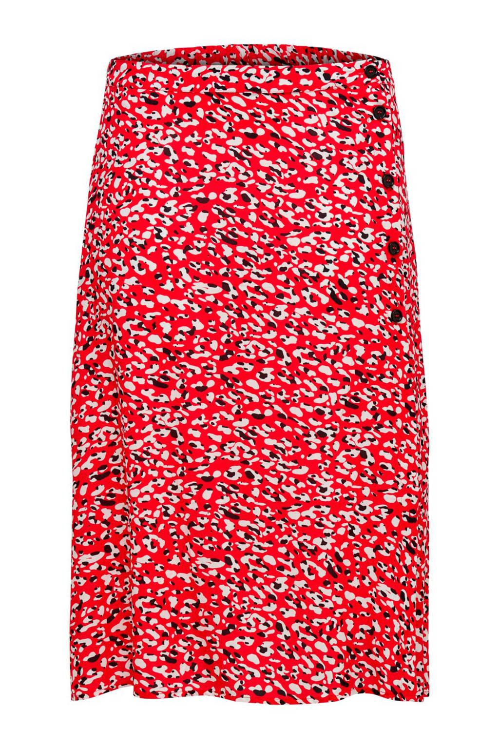 ONLY carmakoma rok met panterprint rood, Rood/ecru/zwart