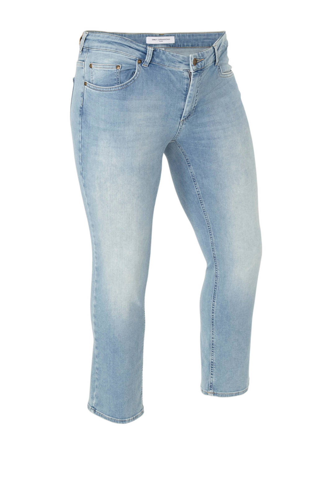 ONLY carmakoma cropped straight fit jeans, Lichtblauw