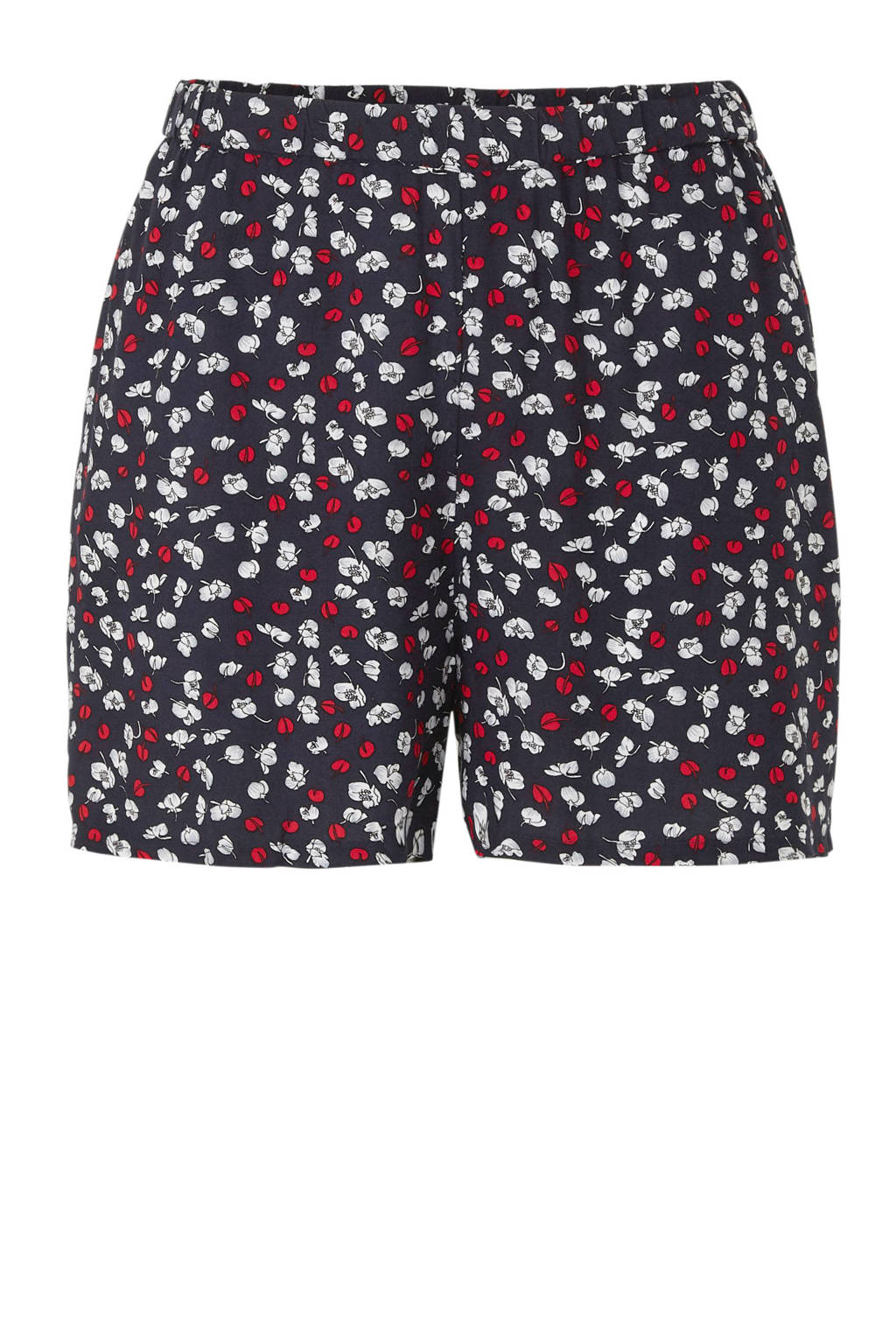 ONLY carmakoma loose fit short met all over print donkerblauw/rood/wit, Donkerblauw/rood/wit