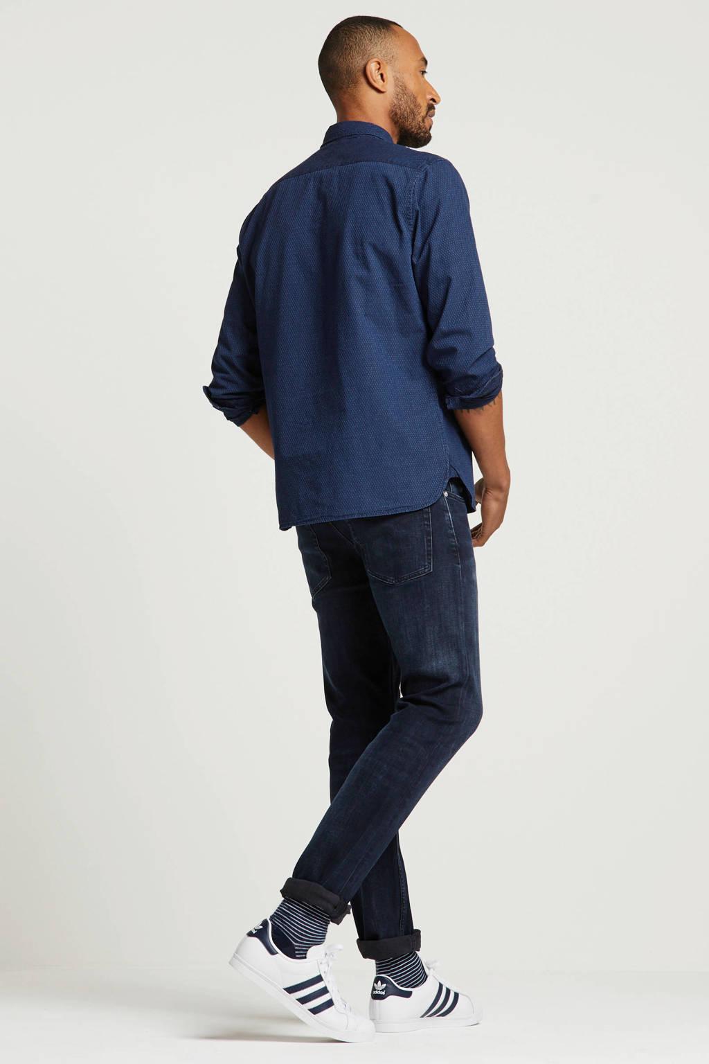 Levi's slim fit overhemd met all over print donkerblauw, Donkerblauw
