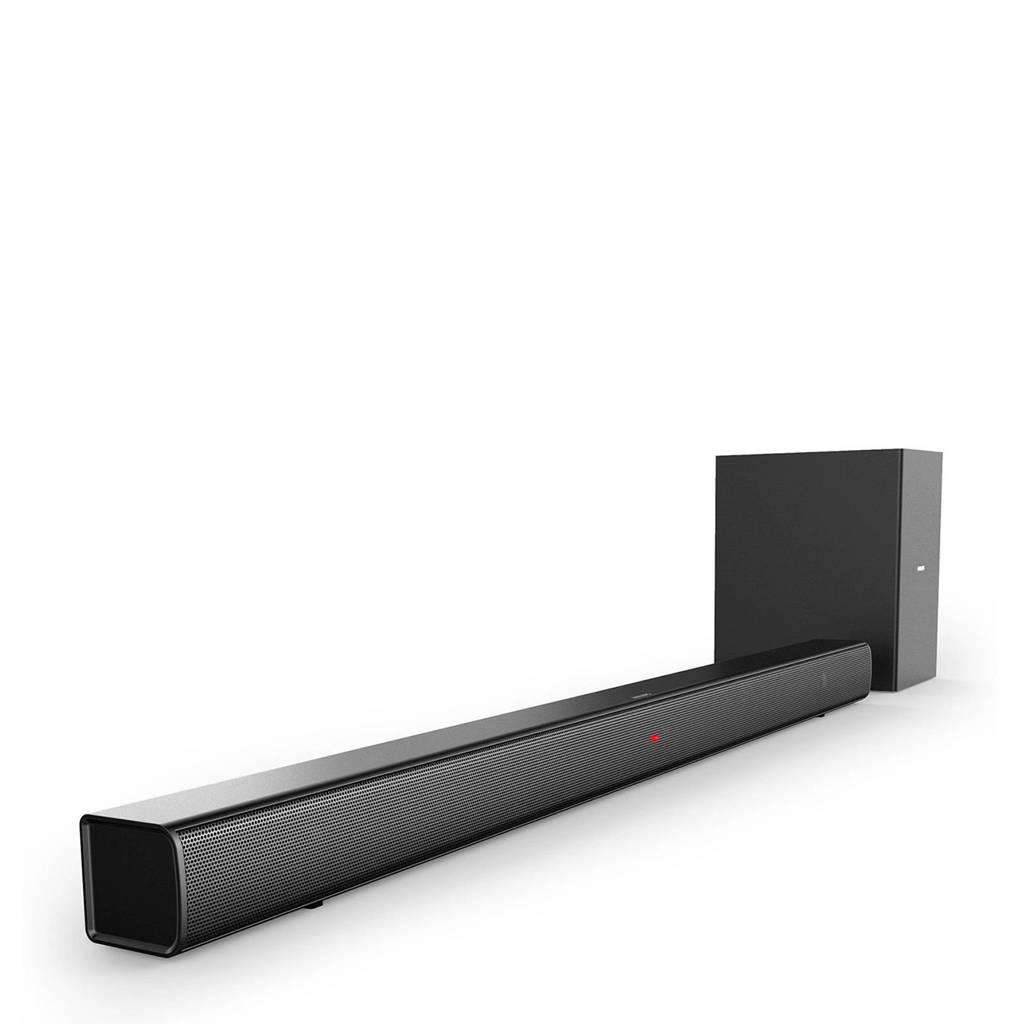 Philips  2.1 soundbar met draadloze subwoofer, Zwart