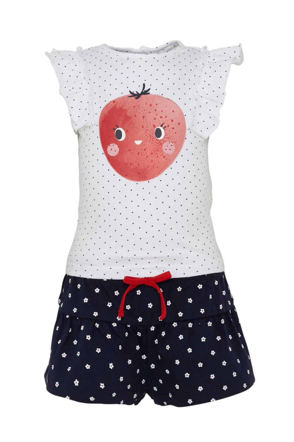 C&A Baby Club top met short, Wit/ donkerblauw