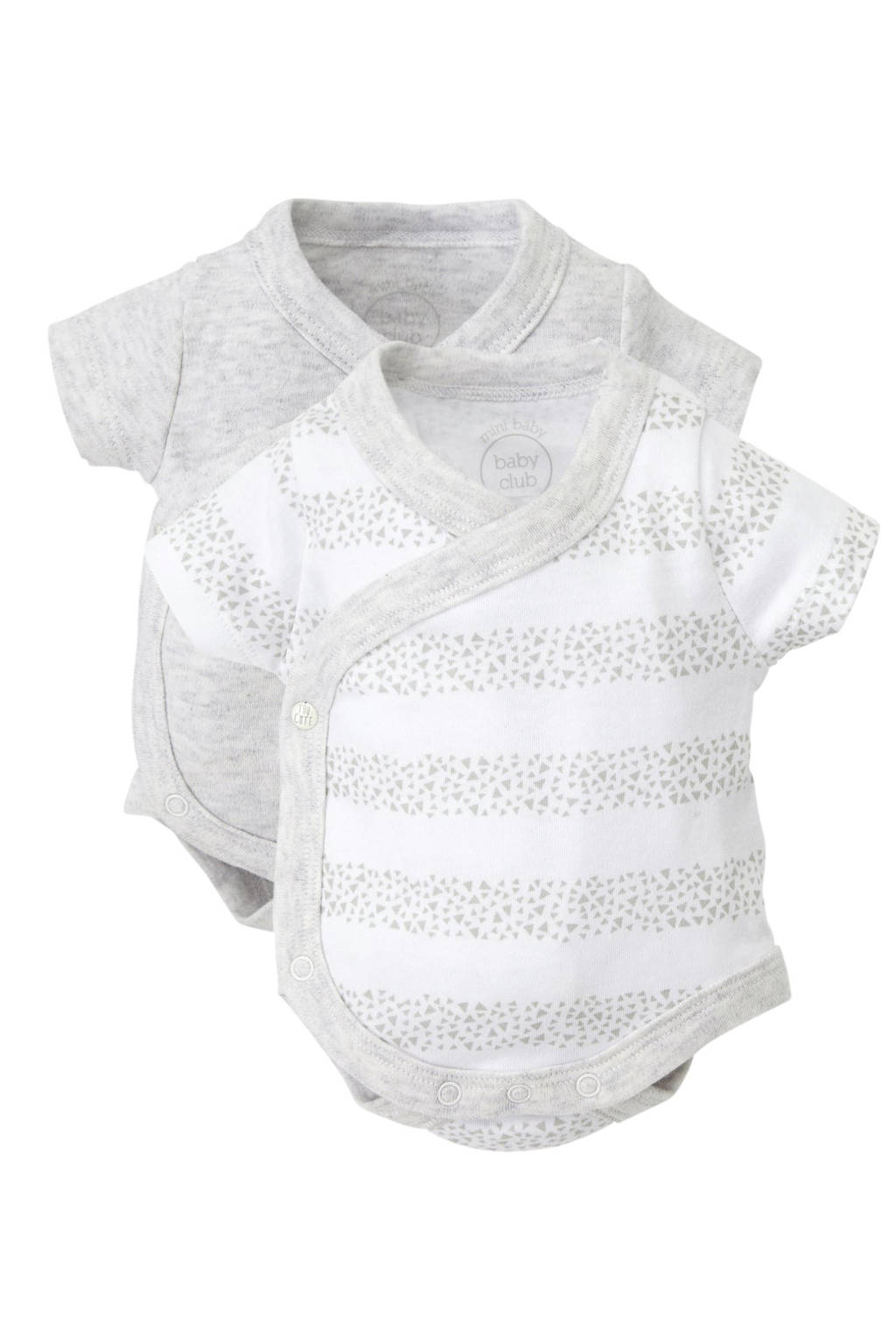C&A Baby Newborn romper - set van 2, Wit/ lichtgrijs melange