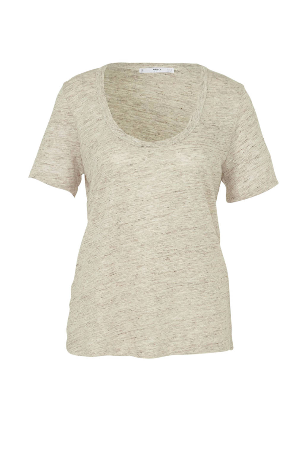 Mango linnen T-shirt beige, Beige