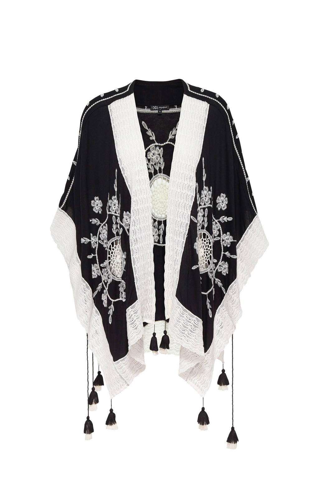 Didi kimono met all over print en borduursels zwart/ecru, Zwart/ecru