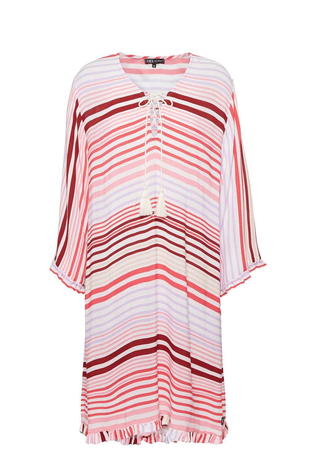 Didi gestreepte oversized jurk ecru/rood, Ecru/rood