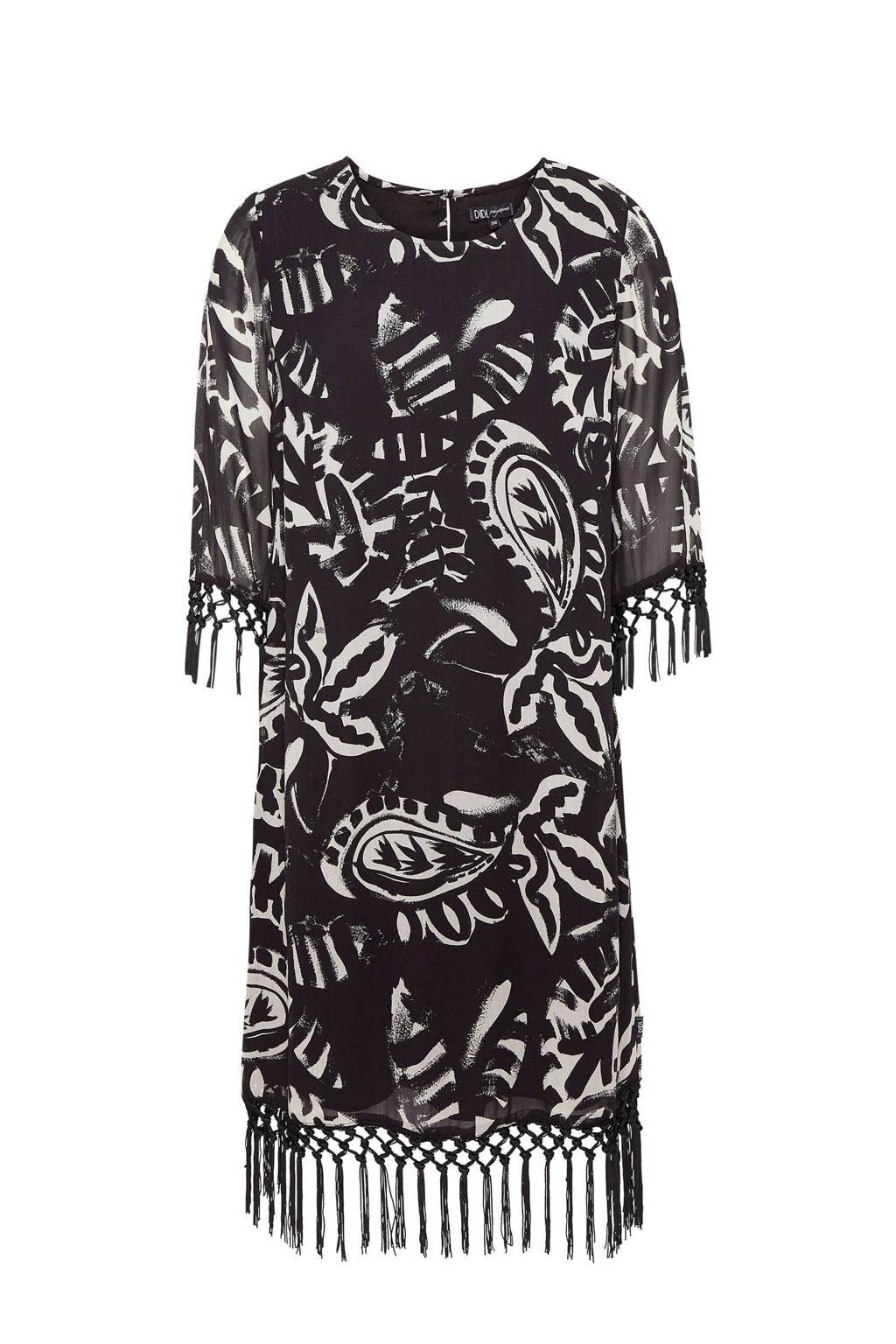 Didi jurk met franjes zwart, Zwart