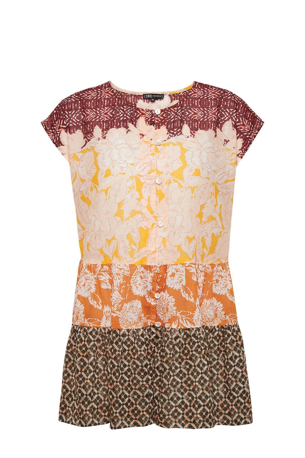 Didi blouse met all over print ecru/geel, Ecru/geel