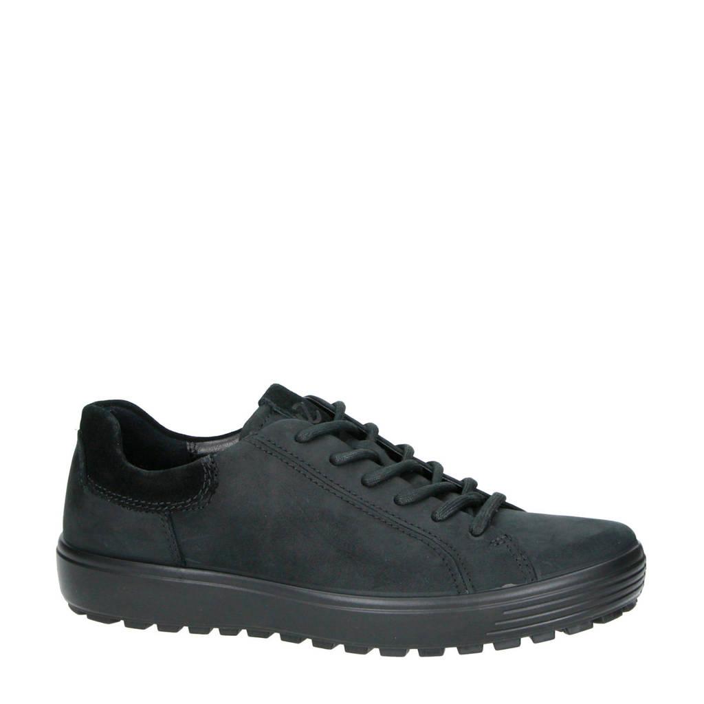 Ecco  comfort Soft 7 Tred nubuck veterschoenen zwart, Zwart