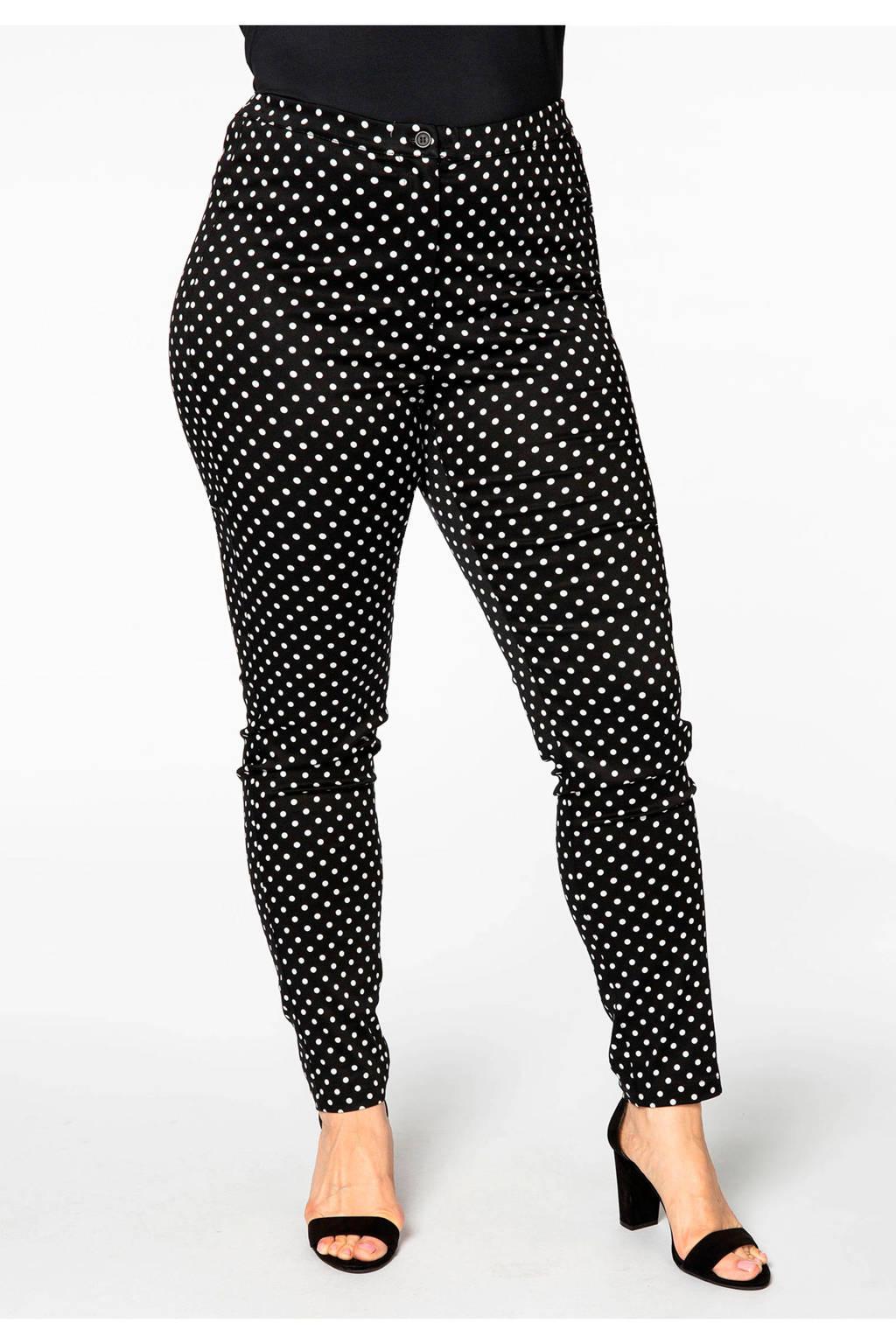 Yoek high waist skinny broek met stippen zwart/wit, Zwart/wit