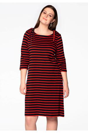 gestreepte jurk donkerblauw/rood