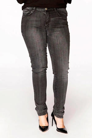 skinny fit regular waist jeans antraciet washed