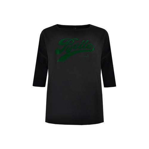 Yoek T-shirt met tekst zwart