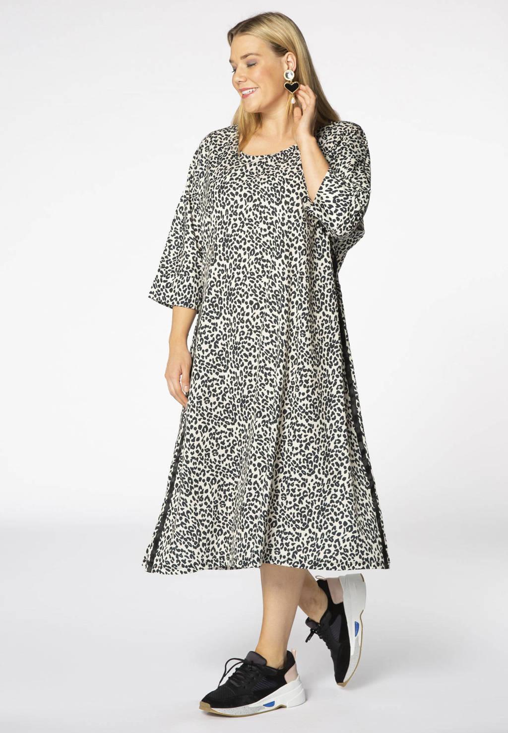 Yoek jersey jurk met panterprint wit/zwart, Wit/zwart
