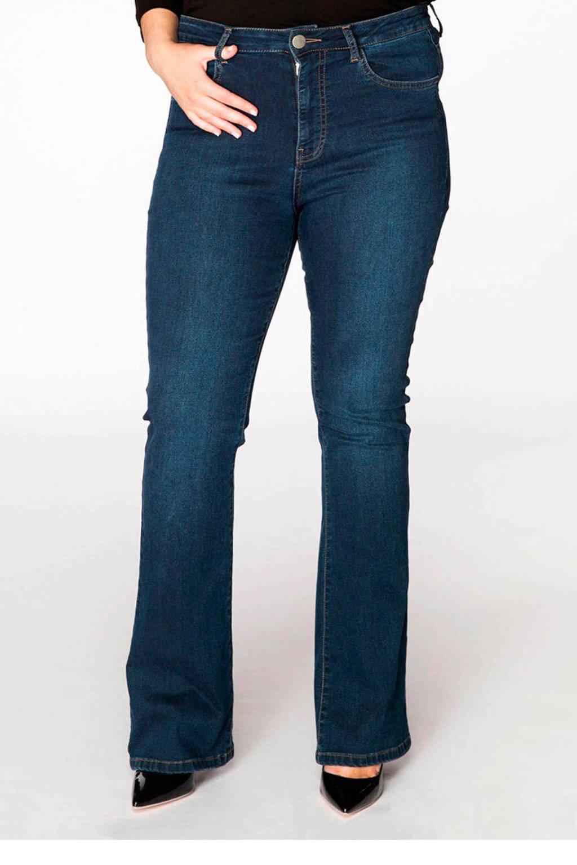 Yoek high waist flared jeans blauw, Blauw