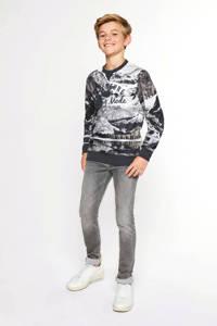 WE Fashion sweater met all over print zwart/wit/grijs, Zwart/wit/grijs
