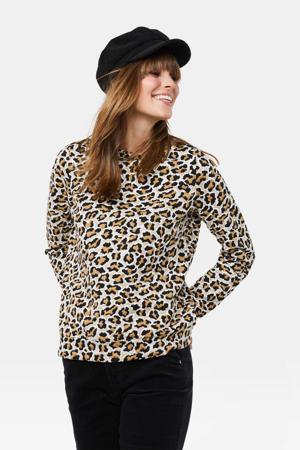 sweater met panterprint lichtbruin