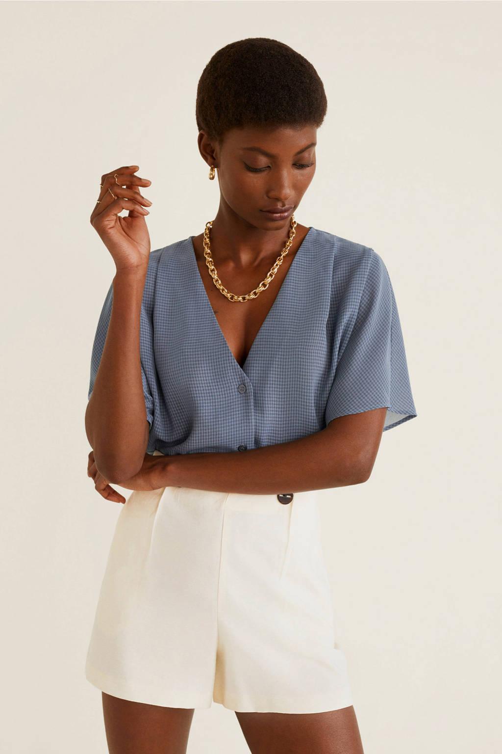 Mango semi-transparante blouse blauw, Blauw