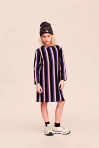 CKS KIDS gestreepte jersey jurk Irpe zwart/roze/blauw, Zwart/roze/blauw