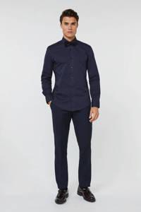 WE Fashion slim fit overhemd met all over print blauw, Blauw
