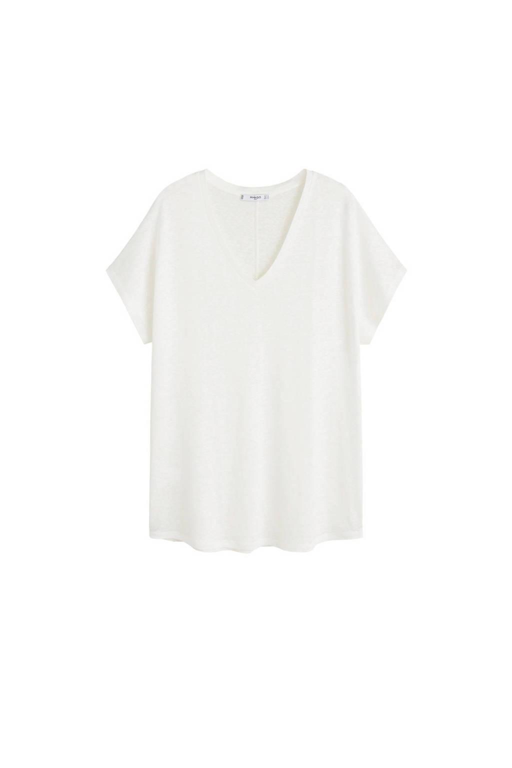 Mango linnen T-shirt gebroken wit, Gebroken wit