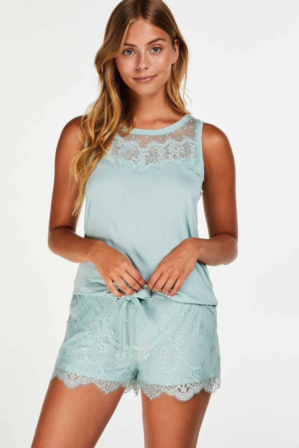 Hunkemöller pyjamatop met kant blauw, Blauw