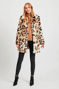 VILA imitatiebont winterjas met panterprint beige/bruin/zwart, Beige/bruin/zwart