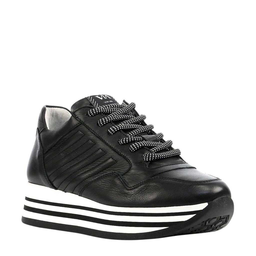 Via Vai  5209036 leren sneakers zwart, Zwart