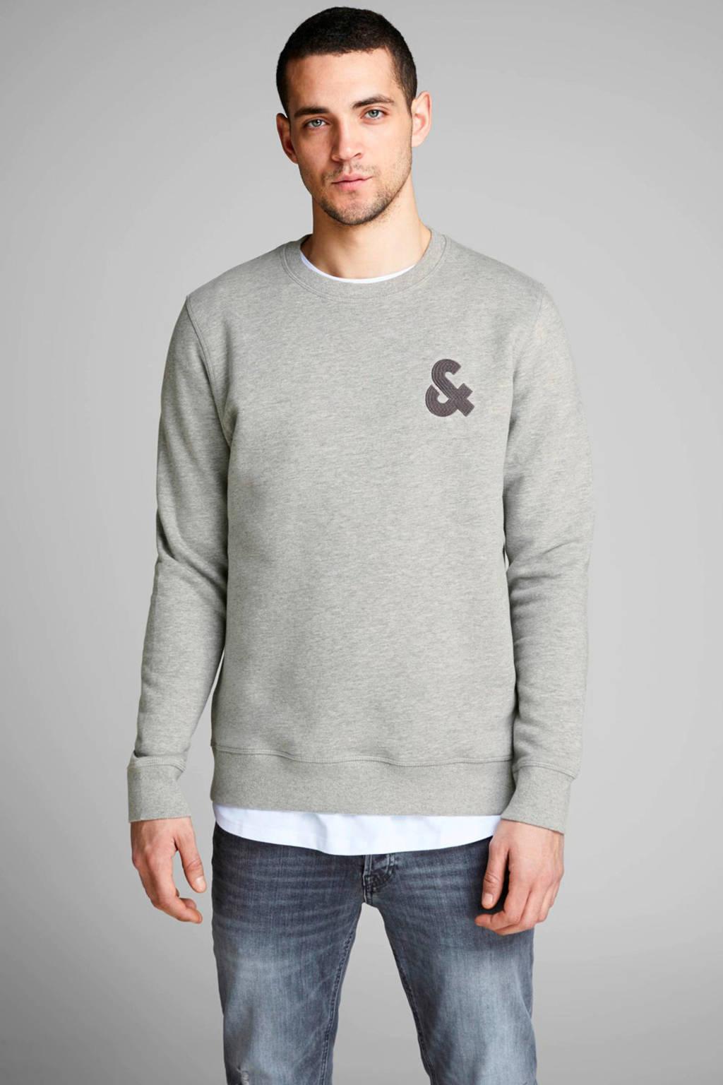 JACK & JONES ESSENTIALS sweater met logo en patches grijs, Grijs