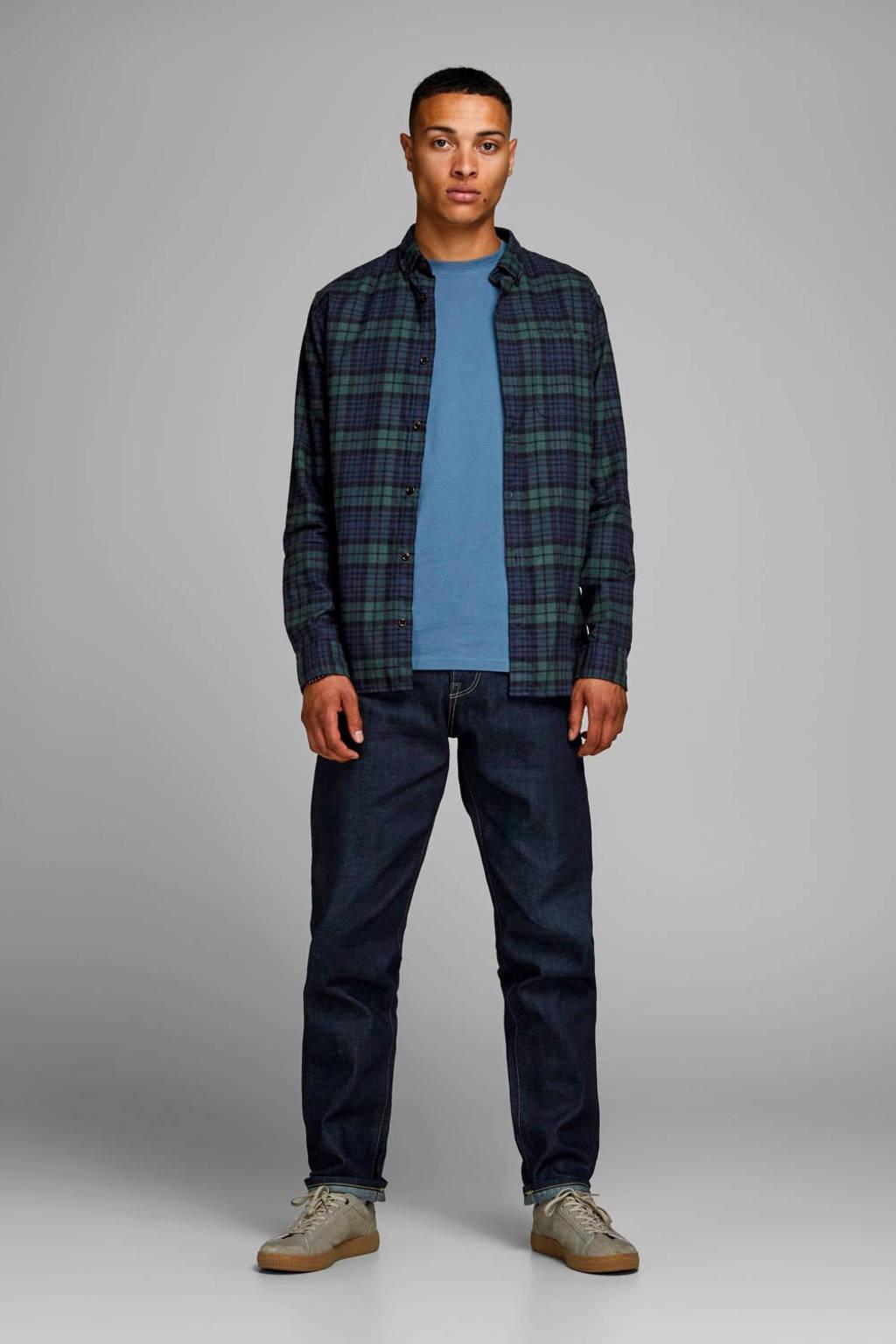 JACK & JONES ESSENTIALS slim fit overhemd met ruit dessin groen, Groen/blauw/zwart