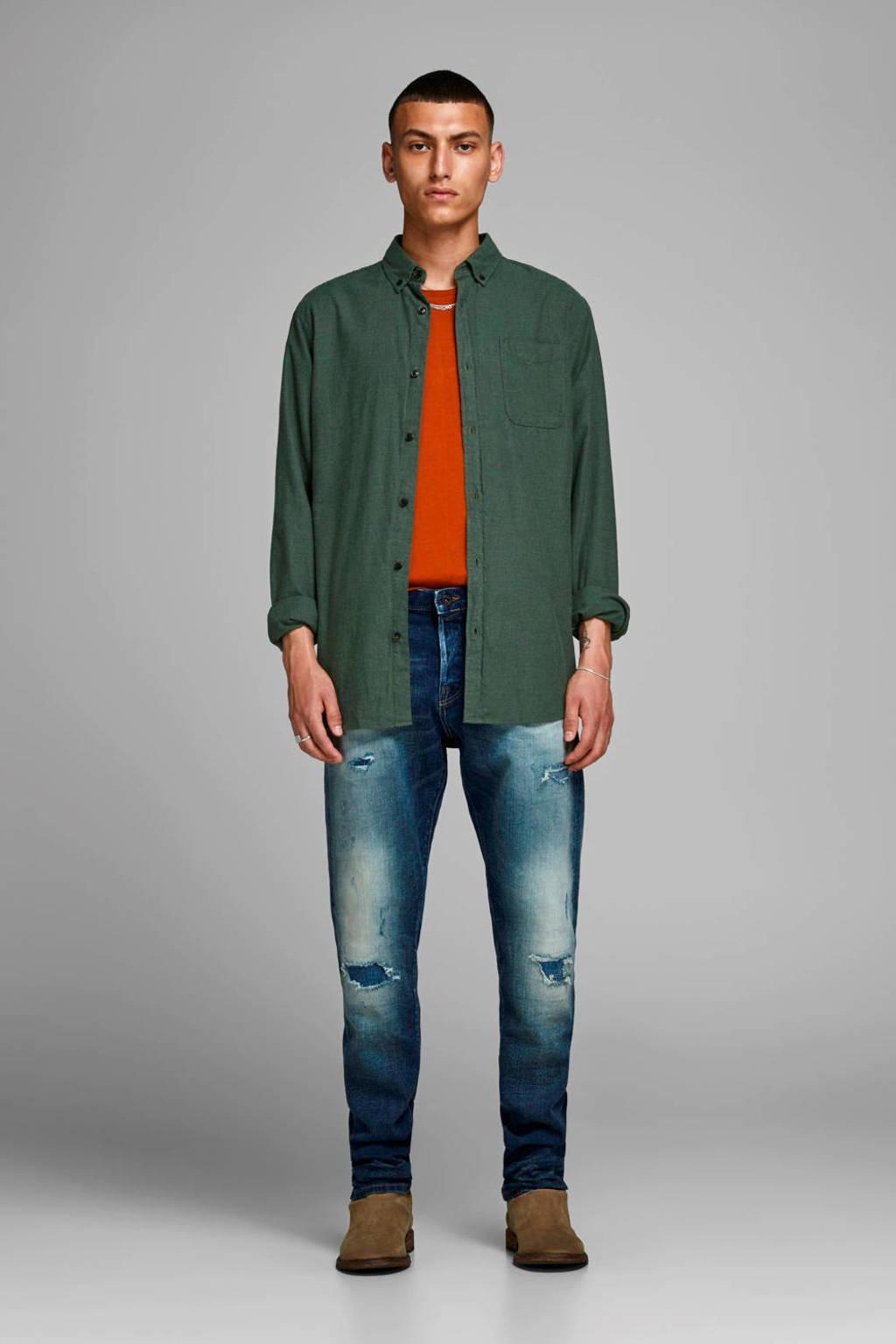 JACK & JONES ESSENTIALS slim fit overhemd olijfgroen, Olijfgroen