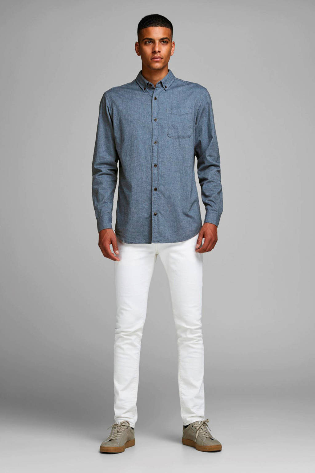 JACK & JONES ESSENTIALS slim fit overhemd blauw, Blauw