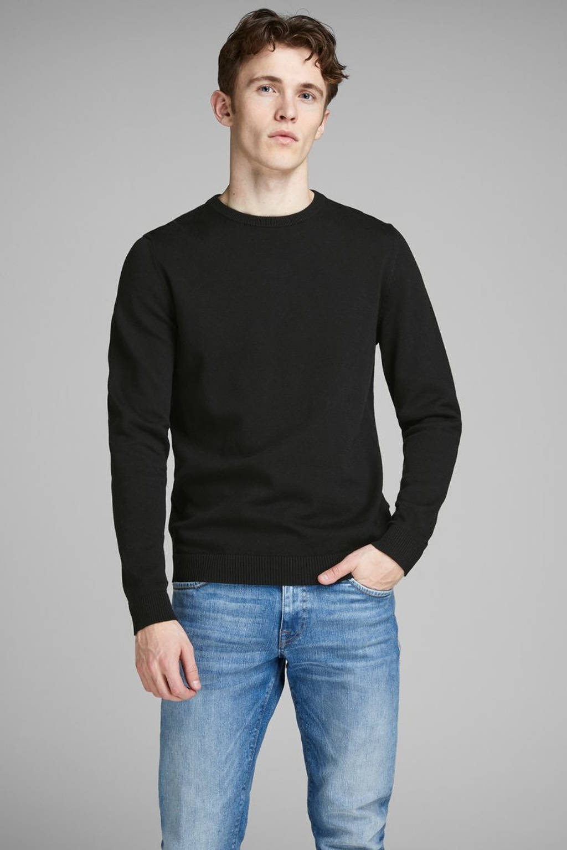 JACK & JONES ESSENTIALS gemêleerde trui JJEBASIC zwart, Zwart