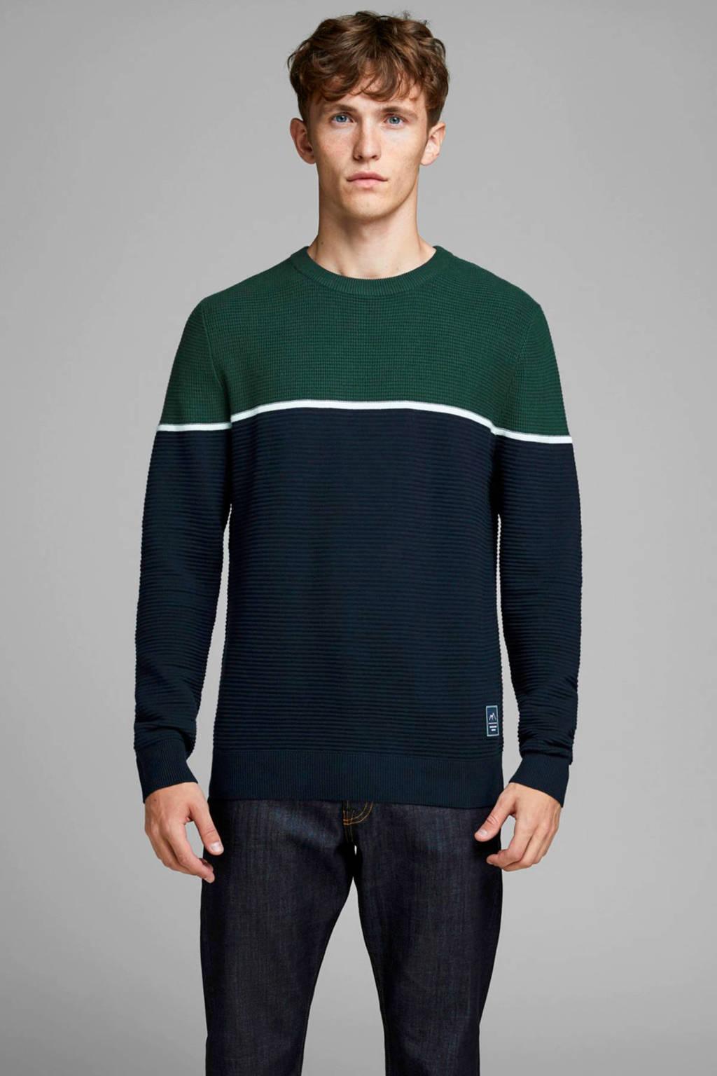 JACK & JONES ORIGINALS gestreepte trui donkerblauw/groen/wit, Donkerblauw/groen/wit