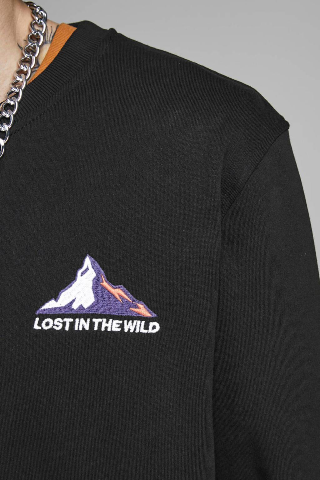 JACK & JONES ORIGINALS sweater met printopdruk zwart, Zwart