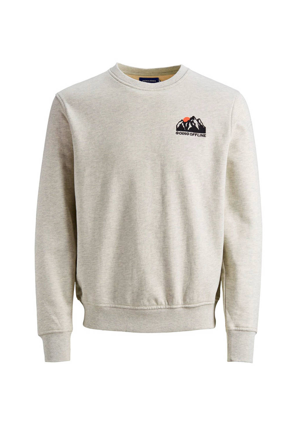 JACK & JONES ORIGINALS sweater met printopdruk grijs, Grijs