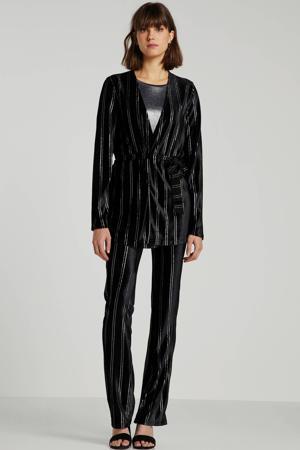 gestreepte fluwelen jasje zwart/zilver