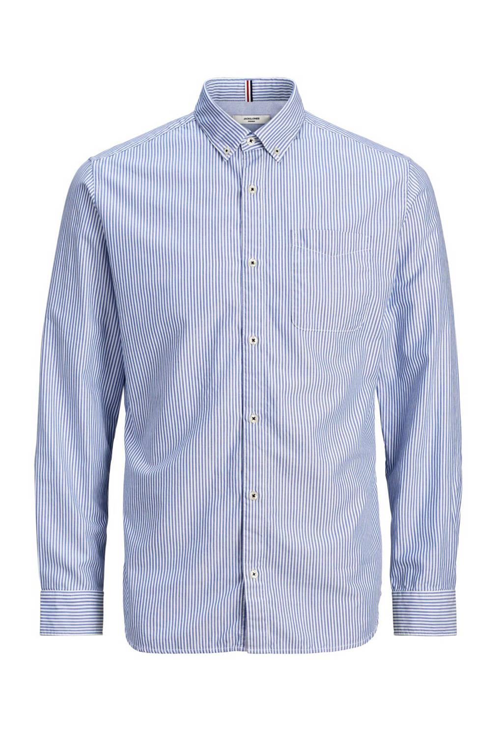JACK & JONES PREMIUM gestreept slim fit overhemd blauw/wit, Blauw/wit