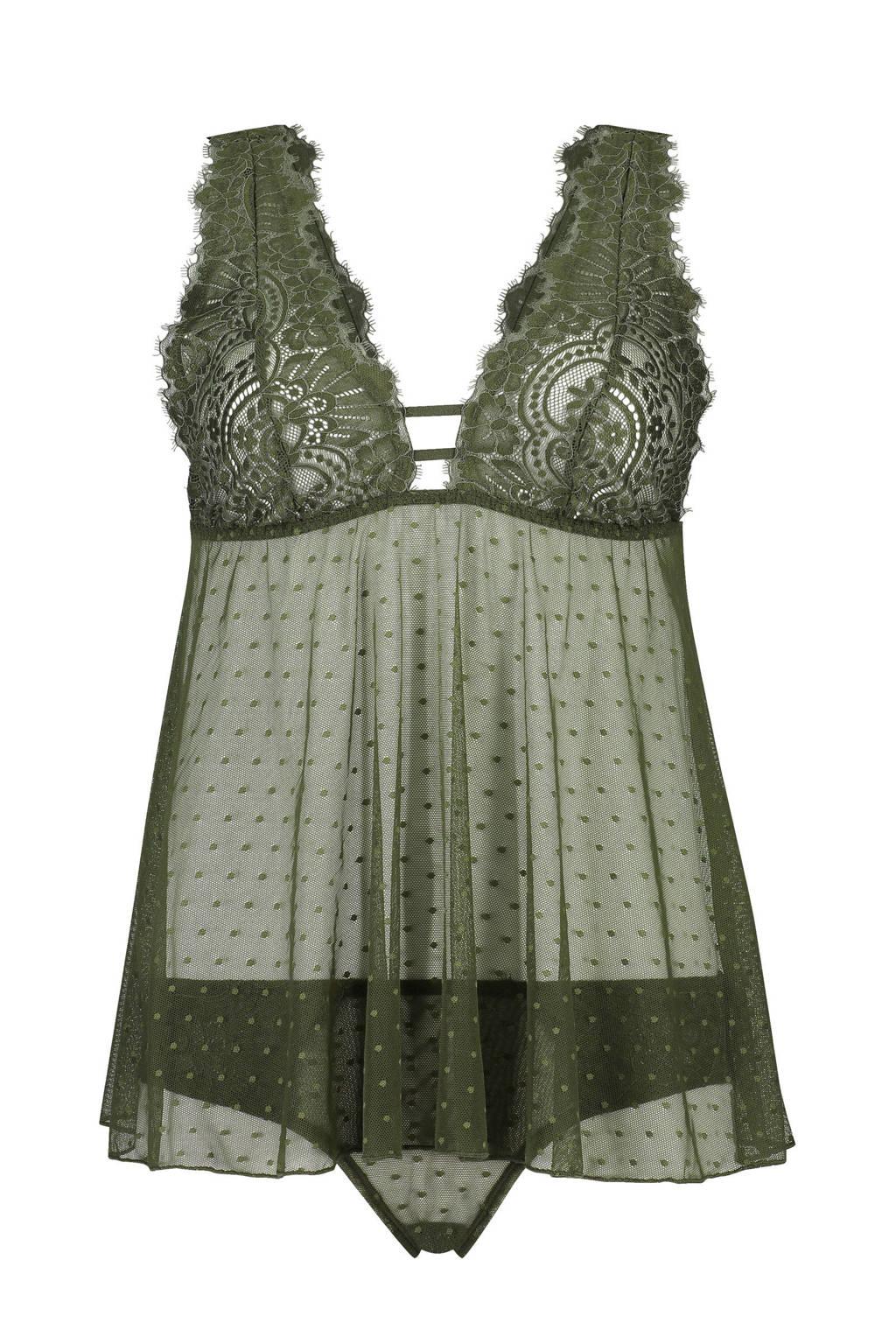 Core collection other camiset Bailey met kant en mesh groen, Groen