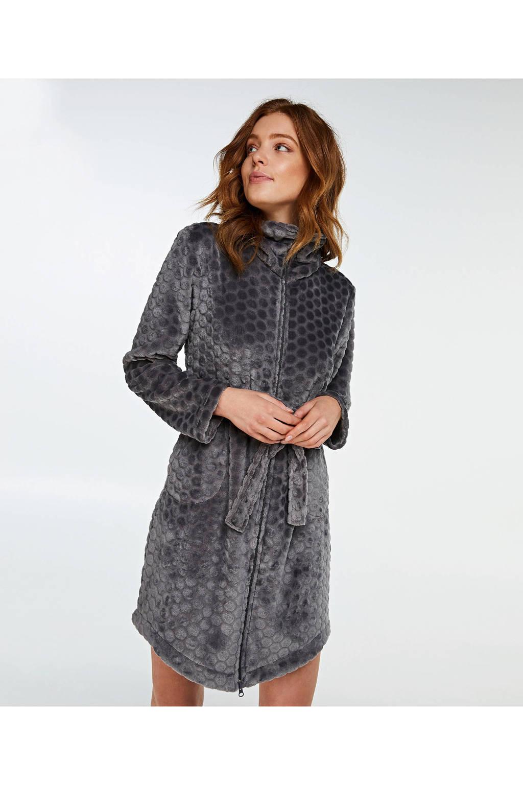 Hunkemöller fleece badjas met ritssluiting grijs, Grijs