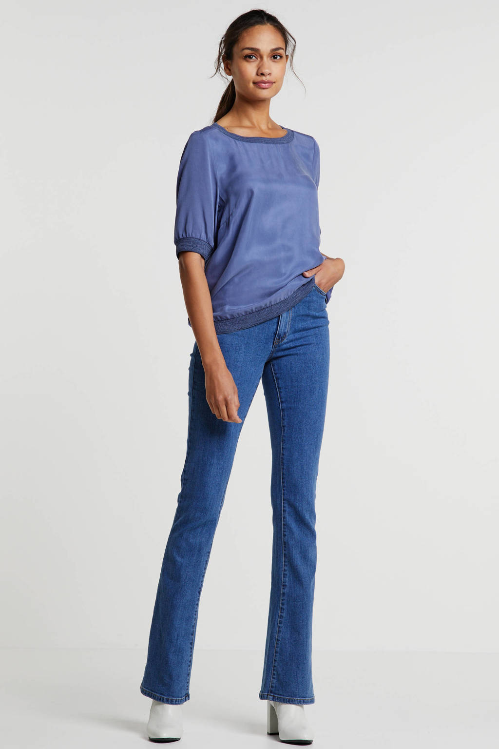 OBJECT high waist flared jeans blauw, Blauw