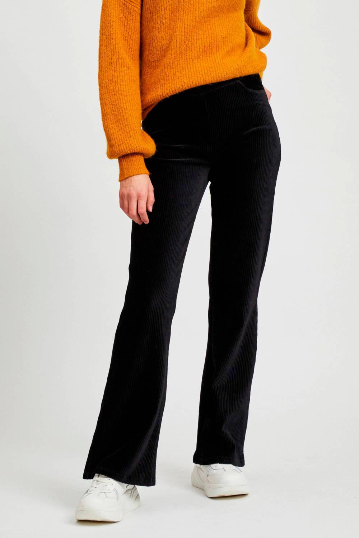 corduroy high waist flared broek zwart