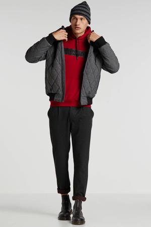 gemêleerde winterjas grijs/zwart