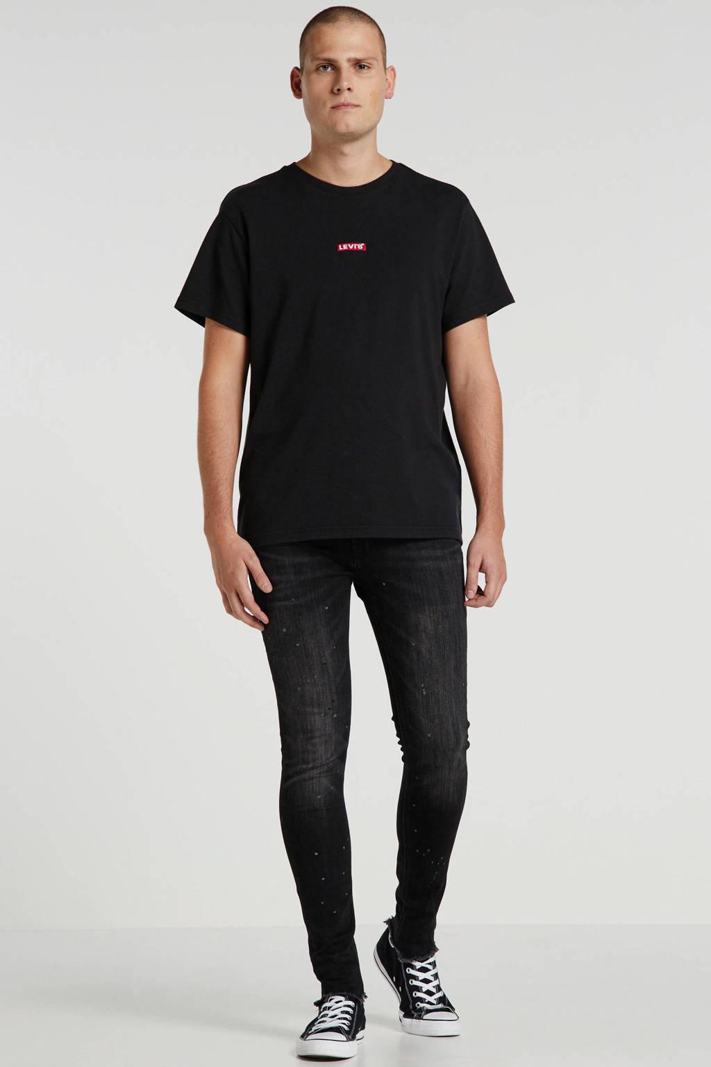 Levi's T-shirt met logo en borduursels zwart, Zwart