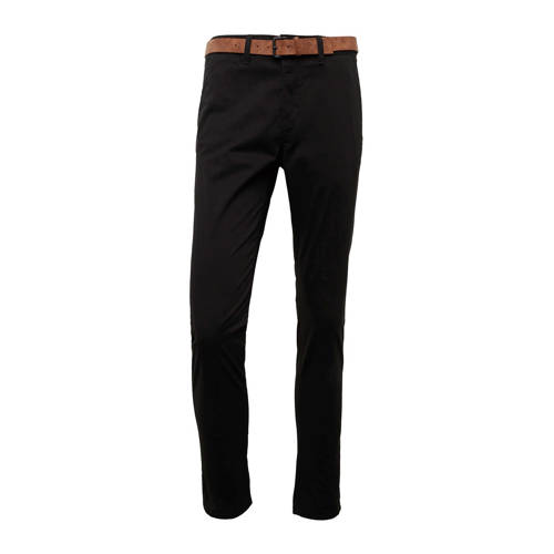 Tom Tailor slim fit chino met riem zwart