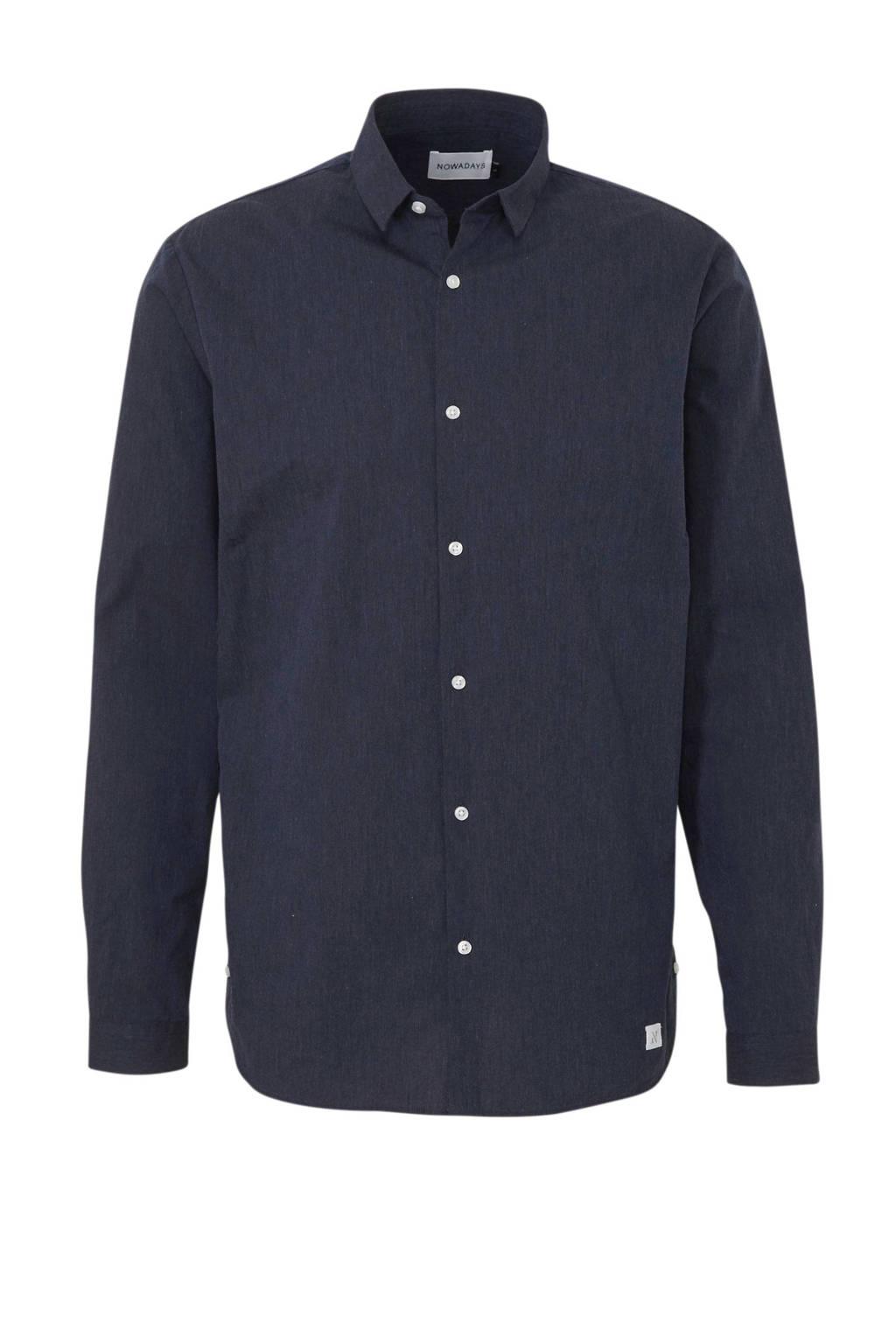 Nowadays regular fit overhemd donkerblauw, Donkerblauw