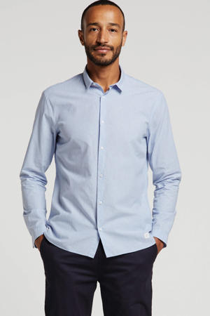 gemêleerd regular fit overhemd lichtblauw