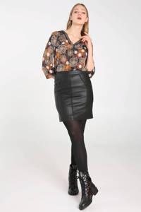 Cassis imitatieleren rok zwart, Zwart