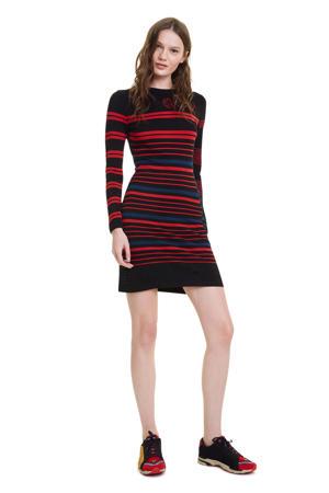 jurk met all over print zwart/rood/blauw