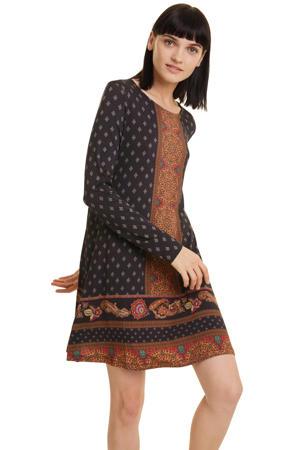 jurk met all over print zwart multi